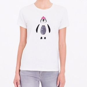 J Crew Collection Tee Sequined Penguin Small